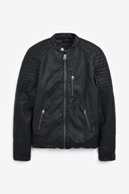 Faux Leather Racer Jacket