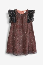Mesh Glitter Animal Print Dress (3mths-7yrs)