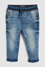 Rib Waist Jeans With Contrast Colour Turn Up (3mths-7yrs)