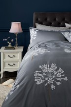 Cotton Sateen Embroidered Allium Duvet Cover And Pillowcase Set