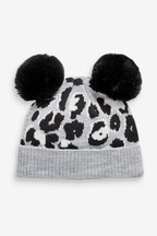 Animal Double Pom Beanie Hat (Younger)