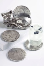 Set of 4 Silver Cat Coasters