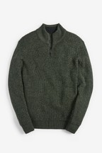 Textured Zip Neck Jumper