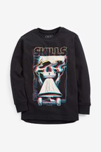 Long Sleeve Skull Graphic T-Shirt (3-16yrs)
