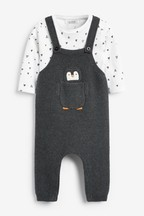 Knitted Penguin Dungarees And Bodysuit Set (0mths-2yrs)