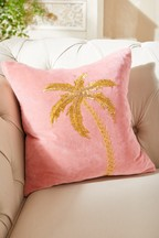 Tropical Embellished Palm Tree Velvet Cushion