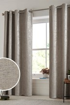 Metallic Woven Geo Eyelet Curtains