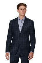 T.M. Lewin Navy Windowpane Check Statement Adelphi Slim Fit Jacket