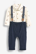 3 Piece Smart Bear Shirt Body, Trousers And Braces Set (0mths-2yrs)