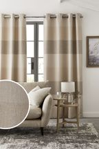 Natural Locksley Woven Stripe Eyelet Curtains
