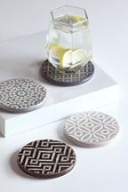 Set of 4 Grey Geo Embossed Ceramic Coasters