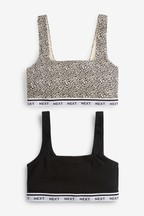 Daisy Square Neck Logo Crop Tops Two Pack