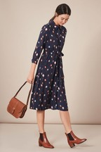 Joules Navy Briony Long Sleeve Button Front Shirt Dress