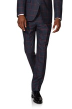 T.M. Lewin Dominion Trousers In Navy And Burgundy Windowpane Check