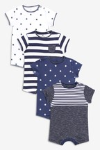 4 Pack Stripe And Star Short Leg Rompers (0mths-3yrs)