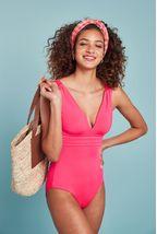 Textured Plunge Shape Enhancing Swimsuit