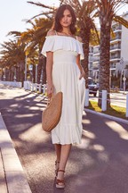 Lipsy Cold Shoulder Tiered Midi Dress