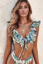 PrettyLittleThing Leafy Frill Tie Front Bikini Top