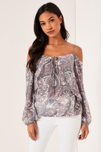 Lipsy Paisley Tie Front Top
