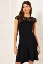 Lipsy Cap Sleeve Lace Skater Dress
