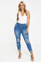Boohoo Curve Low Rise Ripped Skinny Jeans