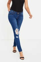 Boohoo Low Rise Distressed Rip Knee Skinny Jeans