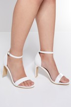 Quiz Faux Leather Thin Block Heeled Sandal