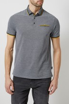 Burton Navy Two Tone Polo Shirt With Yellow Tipping