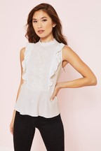 Lipsy High Neck Lace Ruffle Top