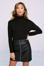 Lipsy Faux Leather Zip Front Mini Skirt