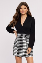 Lipsy 2 In 1 Dogtooth Dress