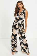 Boohoo Tonal Floral Pearl Button Jumpsuit