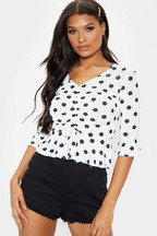 PrettyLittleThing Polka Dot Ruched Front Top