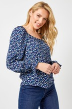 Dorothy Perkins Ditsy Square Neck Crinkle Puff Top
