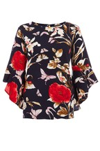 Quiz Floral Print Frill Sleeve Top