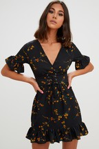 PrettyLittleThing Lace Up Floral Frill Hem Dress