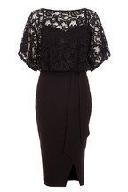 Quiz Lace Batwing Sleeve Tie Waist Midi Dress