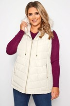 Yours Curve Fur Trim Panelled Gilet Jacket