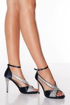 Quiz Satin Diamanté Strap Heel Sandals