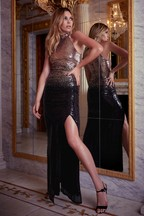 Abbey Clancy x Lipsy Ombre All Over Sequin Maxi Dress