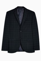 Topman Three Piece Check Super Skinny Notch Lapel Blazer