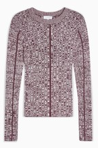 Topshop Knitted Overlocked Long Sleeve Top
