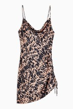 Topshop Tall Animal Ruched Slip Dress