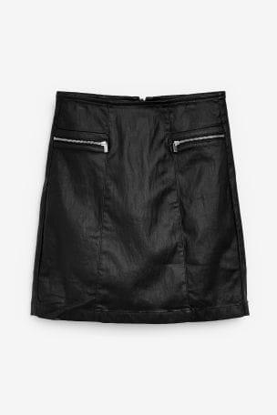 Black Coated Denim Zip Mini Skirt