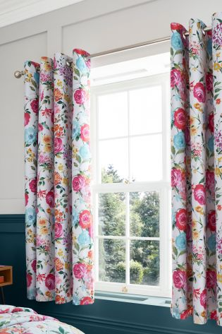 Catherine Lansfield Pink Salisbury Bright Floral Black Out Eyelet Curtains