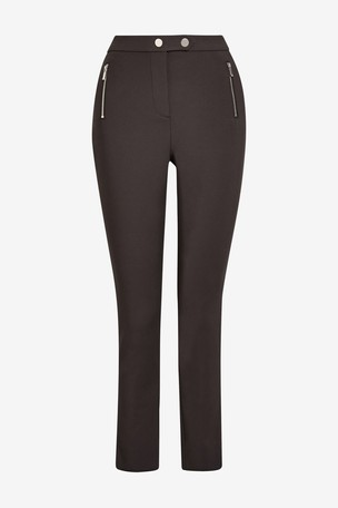Berry Elastic Back Skinny Zip Detail Trousers
