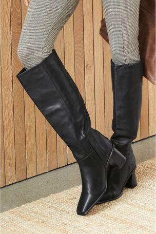 Black Flare Heel Knee High Boots