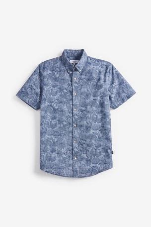 Blue Regular Fit Leaf Print Shirt