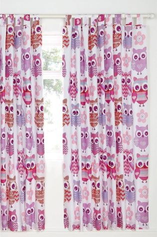 Catherine Lansfield Pink Owl Easy Care Eyelet Curtains