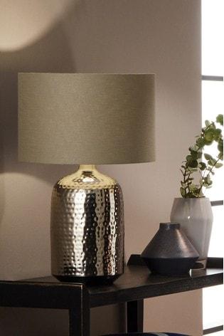 Mambo Hammered Metal Table Lamp By, Metal Desk Lamps Uk